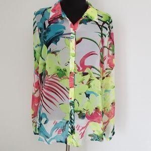 a.n.a. sheer tropical button up blouse